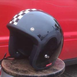 GP Chequered Open Face Helmet – Black/ White