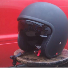 Open Face Matte Black Helmet with Sun Visor